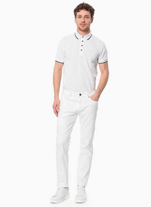 NetWork Slim Fit Polo Yaka Tişört Beyaz